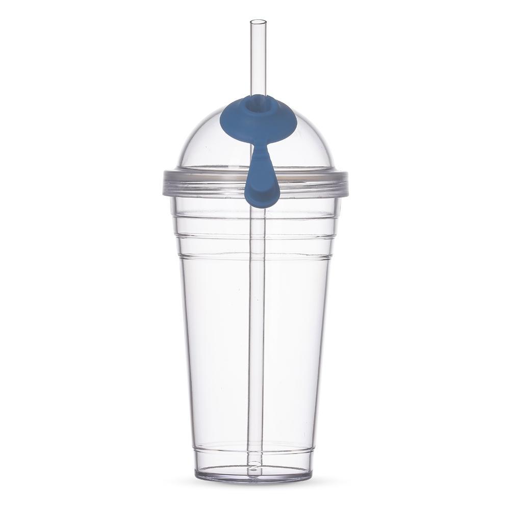 Copo Plástico com Canudo 480 ml