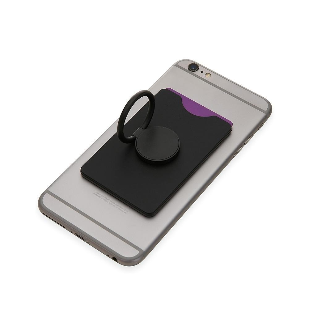 Adesivo Porta Cartão para Celular com Anel de Suporte