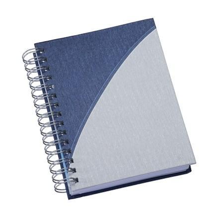 Agenda Wire-o Metalizada Azul com Prata