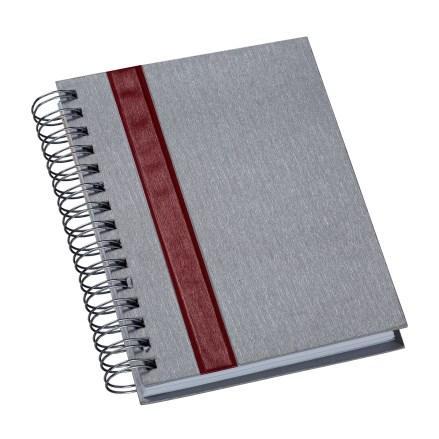 Agenda Wire-o Metalizada Prata com Faixa Vermelha
