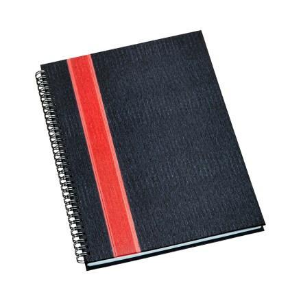Caderno de Negócios Grande Capa Grafite com Faixa Vermelha