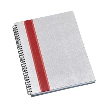 Caderno de Negócios Grande Capa Prata com Faixa Vermelha