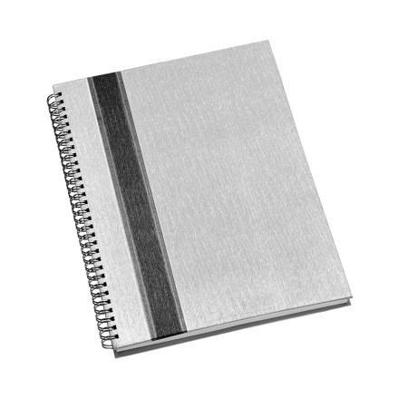 Caderno de Negócios Grande Capa Prata com Faixa Grafite
