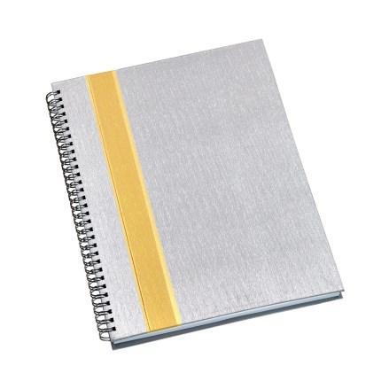 Caderno de Negócios Grande Capa Prata com Faixa Ouro