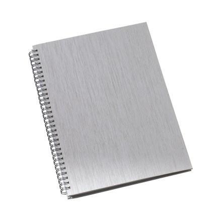Caderno de Negócios Grande Capa Metalizada Prata